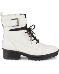 Marc Fisher Bristyn Leather Combat Boots - White