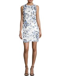 Karl Lagerfeld Applique Printed Lace Dress - Blue