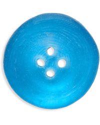 Alexis Bittar White Rhodium-plated & Lucite Button Pin - Blue