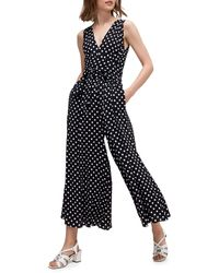 Kate Spade Lia Polka Dot Wide-leg Jumpsuit - Black