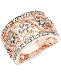 Le Vian 14k Strawberry Gold® & Round-cut Vanilla® & Chocolate® Diamond Ring - Metallic