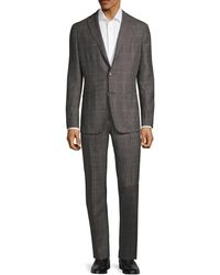 Boglioli Standard-fit Plaid Wool Suit - Brown
