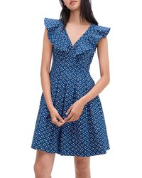 Kate Spade Geometric Pleated Flare Dress - Blue