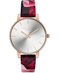 Ted Baker Kate Floral Leather Watch - Red
