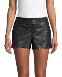 Alice + Olivia Leather Shorts - Black