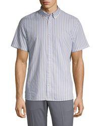 Calvin Klein Striped Short Sleeve Shirt - Blue