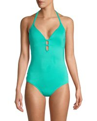 Laundry by Shelli Segal Strappy Side One-piece Swimsuit - Blue