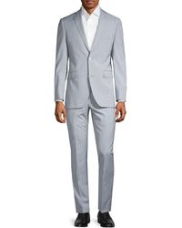 Saks Fifth Avenue Trim-fit Pinstriped Wool Suit - Gray