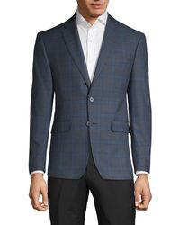 Calvin Klein Slim-fit Plaid Sportcoat - Blue