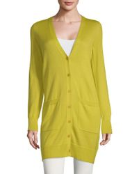Akris Long-line Cashmere & Silk Cardigan - Green