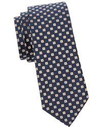 Canali Men's Geometric Silk Tie - Black