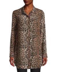 Johnny Was Leopard-print Silk Shirt - Brown
