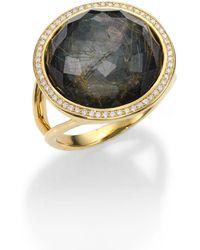Ippolita - Rock Candy Rutilated Quartz, Hematite, Diamond & 18k Yellow Gold Lollipop Doublet Ring - Lyst