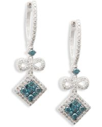 Effy 14k White Gold, White Diamond & Blue Diamond Drop Earrings