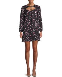 Cupcakes And Cashmere Odele Floral Cutout Shift Dress - Black