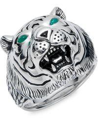 Effy 925 Sterling Silver Green Agate & Onyx Tiger Ring - Metallic