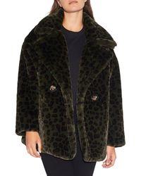 Apparis Amelia Leopard-print Faux Fur Peacoat - Multicolour