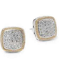 Effy Diamond In 18k Gold & Sterling Silver Square Earrings - Metallic