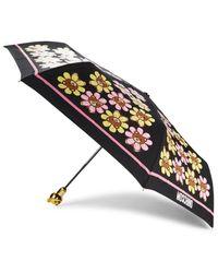 Moschino Floral Bear Handle Folding Umbrella - Black