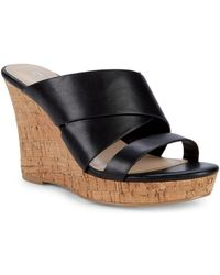 Charles David - Leslie Cutout Leather Wedge Sandals - Lyst