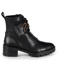 Karl Lagerfeld Parisa Chain Logo Leather Boots - Black