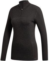 Y-3 Women's Ribbed Half-zip Sweater - Gray - Size Xs