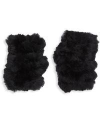 Jocelyn Rabbit Fur Fingerless Gloves - Black