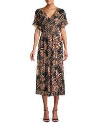 Bobeau Women's Palm Leaf-print Midi Dress - Black Tropical - Size S