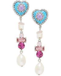 DANNIJO Women's Max 15mm Teardrop Pearl & Glass Crystal Drop Earrings - White