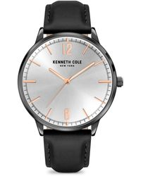 Kenneth Cole Stainless Steel & Leather-strap Watch - Black