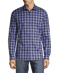 Pure Navy - Checkered Long-sleeve Shirt - Lyst