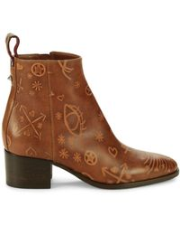 Valentino Garavani Women's Print Leather Booties - Tan - Size 36.5 (6.5) - Brown