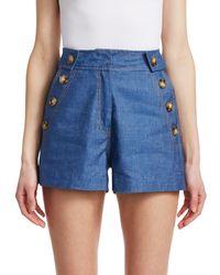 Derek Lam Buttoned Denim Shorts - Blue