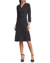 Michael Kors Women's Polka Dot Midi Dress - Black White - Size 12
