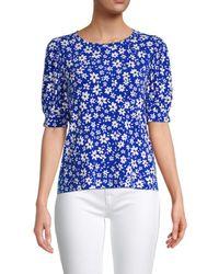 Calvin Klein Ditsy Floral-print Top - Blue