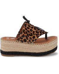 Sarto Malia Calf Hair Platform Sandals - Brown