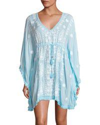 Melissa Odabash Women's Irene Tassel-trim Embroidered Caftan - White Sky - Blue
