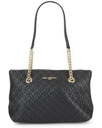 Karl Lagerfeld - Quilted Leather Chain Tote - Lyst