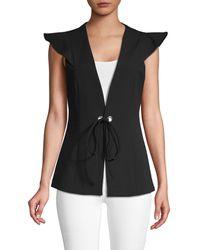 BCBGMAXAZRIA Classic Flutter-sleeve Vest - Black