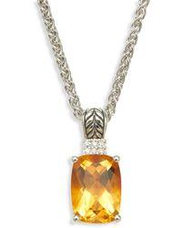 Effy Sterling Silver, Citrine & Diamond Pendant Necklace - Metallic