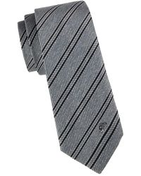Versace Men's Striped Silk Tie - Brown Red - Multicolour