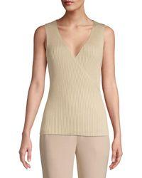Elie Tahari Rudie V-neck Rib-knit Sleeveless Sweater - Metallic