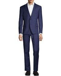 Tommy Hilfiger Lowen Stretch-fit Windowpane Wool-blend Suit - Blue