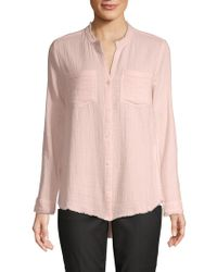 Pure Navy Fringed Patch Pocket Gauze Shirt - Pink