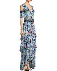 Tanya Taylor Floral Cold Shoulder Dress - Blue