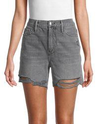 FRAME Women's Le Tour Raw-edge Denim Shorts - Acera - Size 23 (00) - Gray