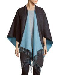 Saks Fifth Avenue Black Merino Wool Cape - Gray