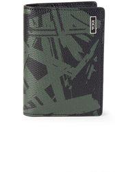 Tumi Palm-print Leather Folding Card Case - Green