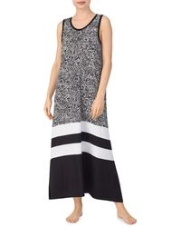 DKNY Colorblock & Print Long Nightgown - Black