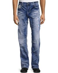 Affliction Cooper Distressed Straight-leg Jeans - Blue